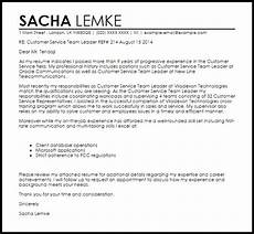 Cover Letter For Team Leader Position Examples Customer Service Team Leader Cover Letter Sample Cover