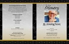 Printable Funeral Programs 11x17 Black Marble Gold Printable Funeral Program
