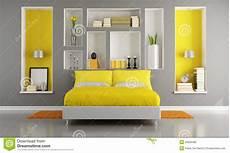 da letto gialla da letto moderna gialla e grigia illustrazione di