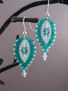 beadwork earrings beaded swarovski by moonwillowjewelry on