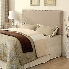 herstal collection ivory fabric headboard w nailhead