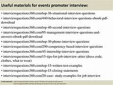 Situational Interview Questions And Answers Useful Materials For Events Promoter Interview