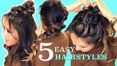 5 lazy easy hairstyles cute summer braids youtube