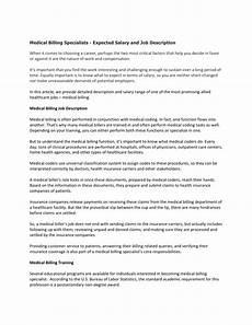 Medical Billing Job Description For Resume Medical Billing Specialists Expected Salary And Job