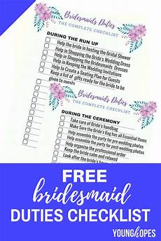 Checklist For A Wedding Free Bridesmaid Duties Checklist Printable For Wedding Day