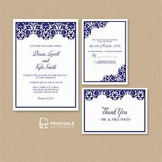 Wedding Invite Free Templates Damask Frame Wedding Invitation Templates Set Wedding