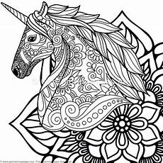 4 zentangle unicorn and mandala coloring pages