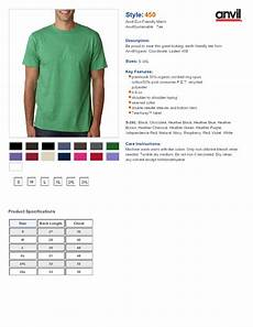 Anvil T Shirts Size Chart Anvil 450 Short Sleeve T Shirt 5 84 T Shirts