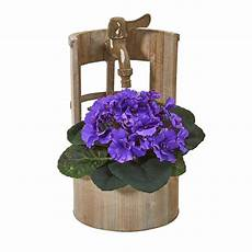 African Violet Lighting Artificial 12 H Faux Purple African Violet Plant In Faucet Planter