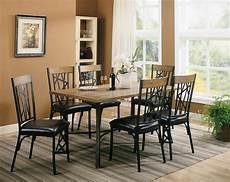 black metal brown wood modern 5pc dining set