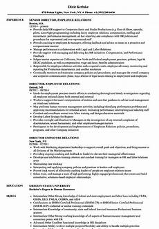 Employee Relations Manager Resume Samples Director Employee Relations Resume Samples Velvet Jobs