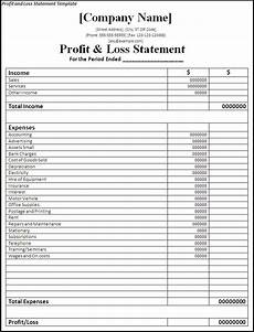 Profit Loss Statement Form Printable Profit And Loss Statement Free Word Templates