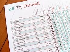 Monthly Bills List Printable Bill Pay Checklist