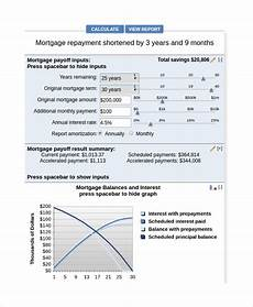 Additional Payments To Principal Calculator Sample Mortgage Payoff Calculator 7 Free Documents