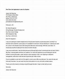 Part Time Job Cover Letter Student 10 Sample Job Application Letters For Student Free