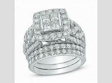 4 CT. T.W. Quad Princess Cut Diamond Frame Bridal Set in