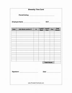 Bi Weekly Time Card Template Free Biweekly Time Card With Lunch Time Card