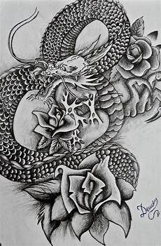 Japanese Rose Designs Traditional Japanese Dragon With 3 Roses On Hip Com