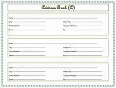 Name And Address Template Word Address Book Template Record Your Important Addresses