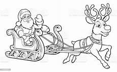 Ausmalbild Weihnachtsmann Mit Schlitten Santa Claus Fling Sleigh Sled Reindee Stock