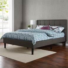 zinus contemporary upholstered platform bed grey