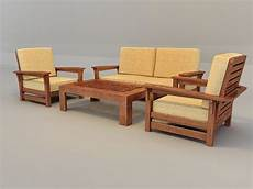 Wood Sofa 3d Image by Traditional Sofa Set With Wood Trim 3d Model 3ds Max Files