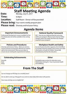 staff meeting agenda templates staff meeting aussie childcare network