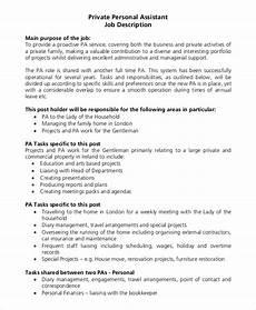 Personal Description Sample Personal Assistant Job Description 9 Examples In