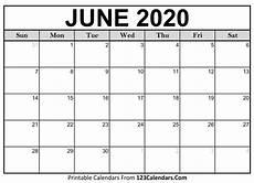 June 2020 Blank Printable Calendar June 2020 Calendar Printable