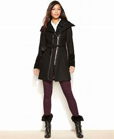 guess coats for thin guess wool blend faux fur trim belted coat in black lyst