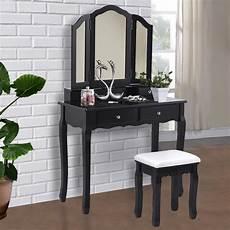 giantex black tri folding mirror vanity makeup dressing