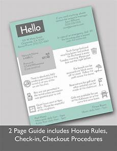 Rental House Rules Template 2 Page Vacation Rental Quick Guide Airbnb Welcome