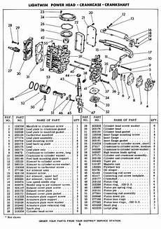 1952 1954 Original Evinrude Lightwin 3 Hp Parts Manual
