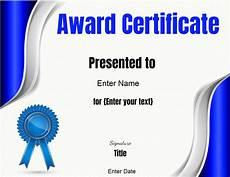 Template Of Award Certificate Free Editable Certificate Template Customize Online