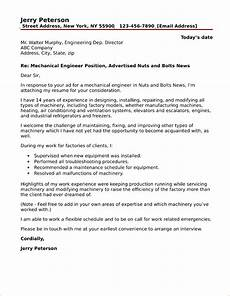 Engineer Cover Letters Mechanical Engineer Cover Letter Sample