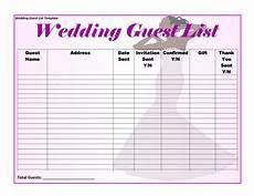 Wedding Guest List Spread Sheet 35 Beautiful Wedding Guest List Amp Itinerary Templates