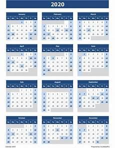2020 Fillable Calendar Download 2020 Yearly Calendar Sun Start Excel Template