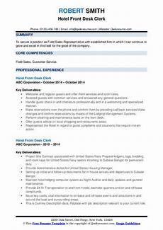 Hotel Desk Clerk Resume Hotel Front Desk Clerk Resume Samples Qwikresume