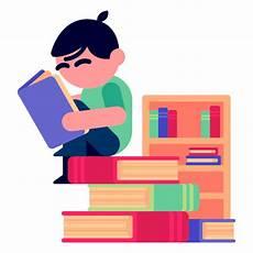 boy reading books illustration transparent png svg