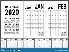 Calendar 2020 Office Calendar 2020 English Calender Template Vector Planner