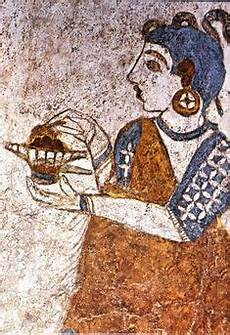 detail of fresco ship procession or flotilla frieze from