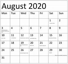 August 2020 Calendar With Holidays August 2020 Calendar With Holidays On We Heart It