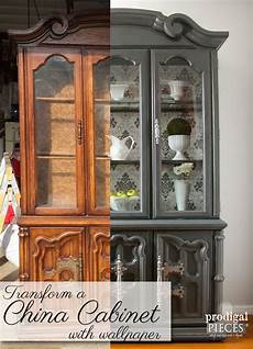 china cabinet makeover with wallpaper prodigal pieces