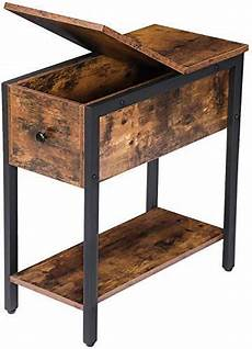 Hoobro End Table Rustic Side Table With 3 Tier Shelf by New Hoobro End Table Flip Top Side Table Storage Shelf