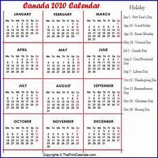 2020 Calendar Canada Calendar 2020 Canada Canada 2020 Yearly Printable Calendar