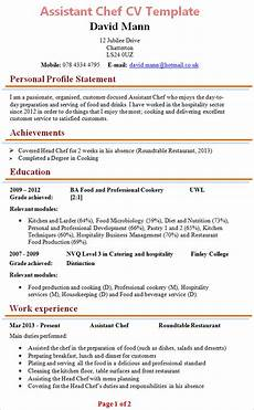 Free Chef Cv Template Assistant Chef Cv