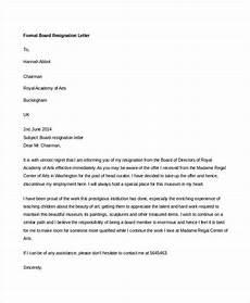 Board Resignation 19 Formal Resignation Letters Free Sample Example