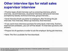 Interview Questions For Supervisor Retail Sales Supervisor Interview Questions And Answers