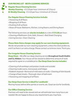 House Cleaning Price Guide House Cleaning Price List Office Cleaning Price List
