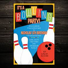 Free Printable Bowling Party Invitations For Kids Retro Bowling Printable Birthday Party Invitations Kids